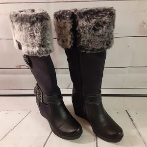 SO WEDGE WINTER KNEE HIGH BOOTS